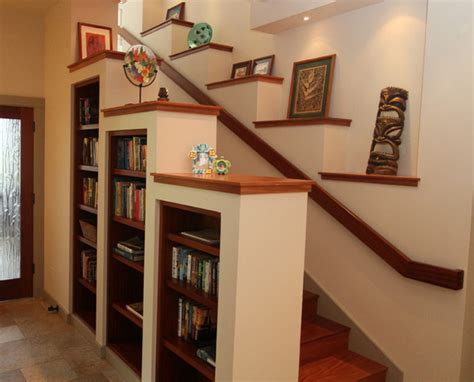 staircase shelves entertainment center under stairs hawaii staircase