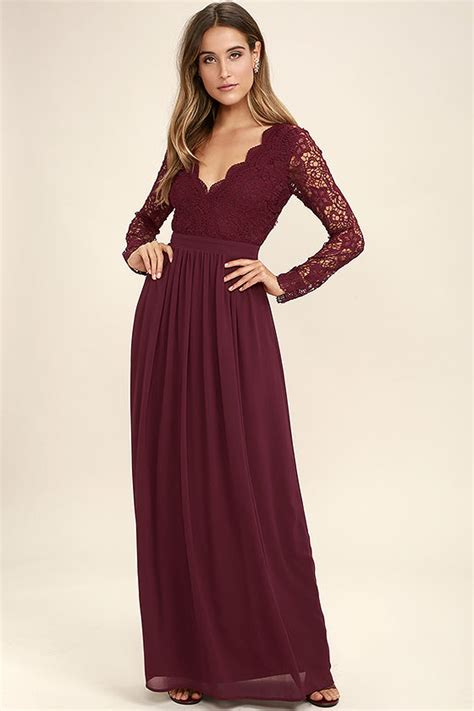 Lovely Burgundy Dress   Maxi Dress   Lace Dress   Long Sleeve Dress   $84.00