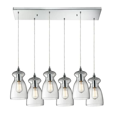 Multi Light Pendant Multi Light Pendant Light With Clear Glass And 6 Lights 60053 6rc Destination Lighting