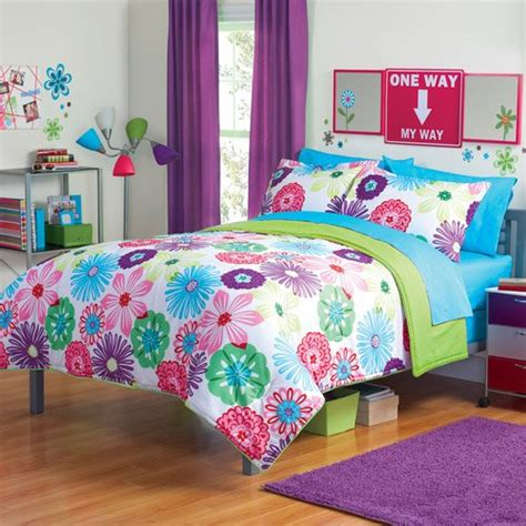 floral twin bedding girl fun bright green pink purple bright flower floral