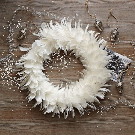 snowy white feather wreath decoist