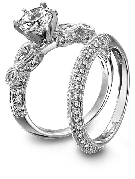 and platinum engagement ring and wedding band set