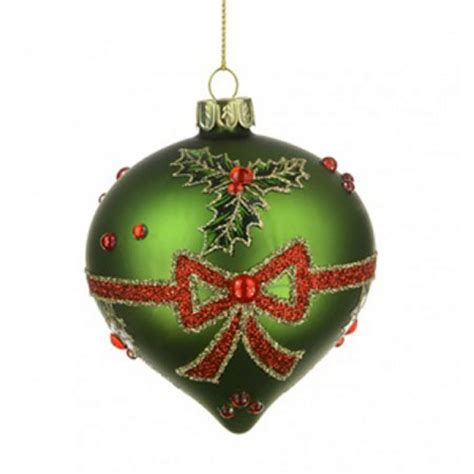 80mm glass onion christmas baubles green holly