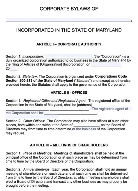 Free Maryland Corporate Bylaws Template Pdf Word Basic Bylaws Template