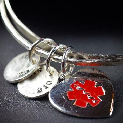 Medical Alert Bracelet   Recycled Sterling SIlver Bangle Set   Custom