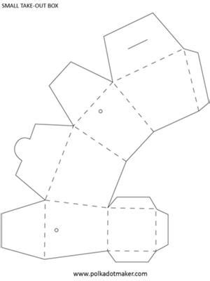 pattern for fold up box take out box template