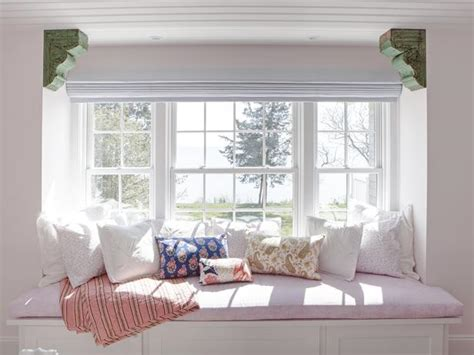 Bedroom Window Seat Designs Spacious Window Seat With Stylish Patterned Pillows Hgtv