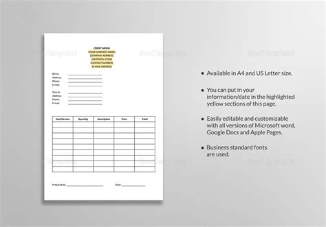memo template for apple pages blank credit memo template in word google docs apple pages