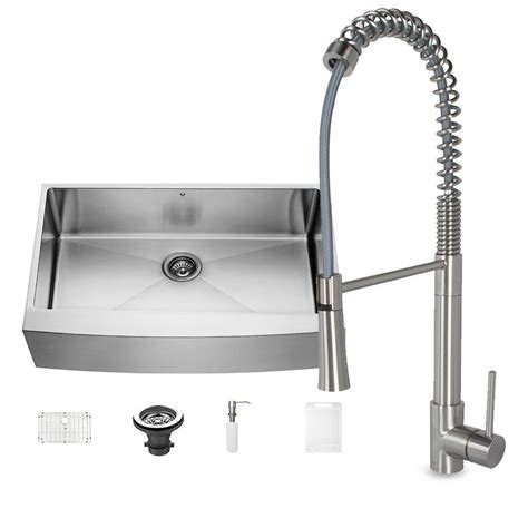 farmhouse sink with faucet holes vigo all in one farmhouse stainless steel 36 in 0 hole