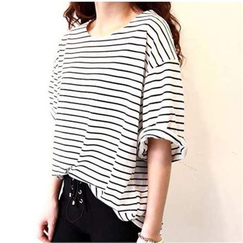 Tshirt Kaos Striped shirt top striped top striped shirt stripes baggy