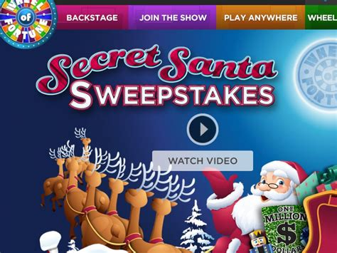 Wheel Of Fortune Com Secret Santa Sweepstakes - wheel of fortune secret santa spin id sweepstakes