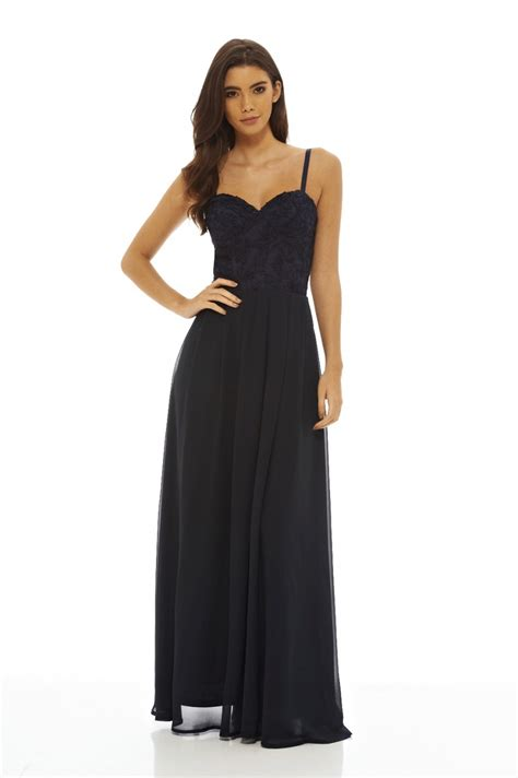 Maxi Flow Navy ax s lace bodice maxi navy dress