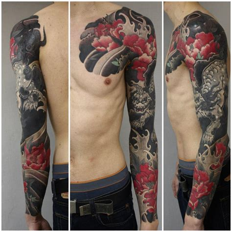 oriental tattoo colored black demon japanese sleeve tattoo body art pinterest