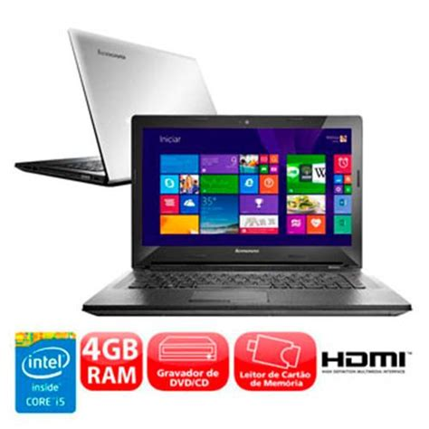 Laptop Lenovo Type G40 70 notebook lenovo g40 70 intel 174 core i5 4200u 4gb 1tb gravador de dvd leitor de cart 245 es
