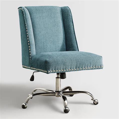 upholstered office chair aqua heathman upholstered office chair world market
