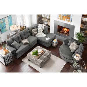 Swivel Chair Living Room Furniture Design Ideas Cordelle 2 Right Facing Chaise Sectional Gray Value City Furniture Home Decorating