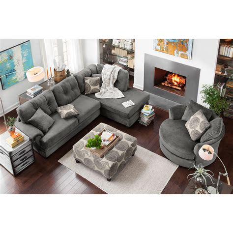 gray living room chairs cordelle 2 piece right facing chaise sectional gray