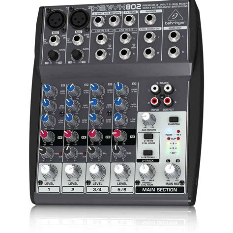 behringer xenyx 802 premium 8 input 2 mixer with xenyx mic pres and