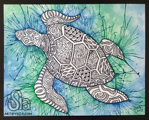 doodle paint original watercolor ink zentangle turtle painting