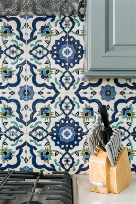 hand painted tiles for kitchen backsplash design details of the hgtv smart home 2016 kitchen hgtv