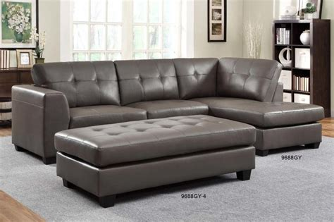 Sectional Sofas Leather Modern Homelegance Modern Small Tufted Grey Leather Sectional Sofa Chaise Contemporary Sectional