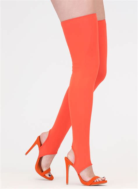 heels and thigh highs get shafted strappy thigh high heels orange wine black