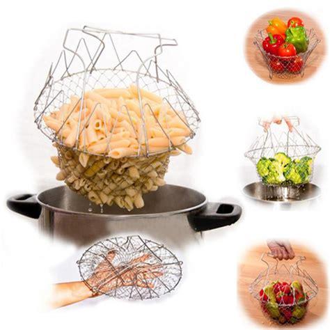 Chef Basket Kitchen Tools high quality foldable steam rinse strain fry chef basket magic basket mesh basket