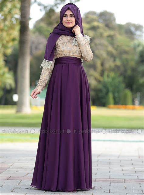 Abaya Pesta Jetblack Payet Amira crew neck fully lined purple muslim evening dress