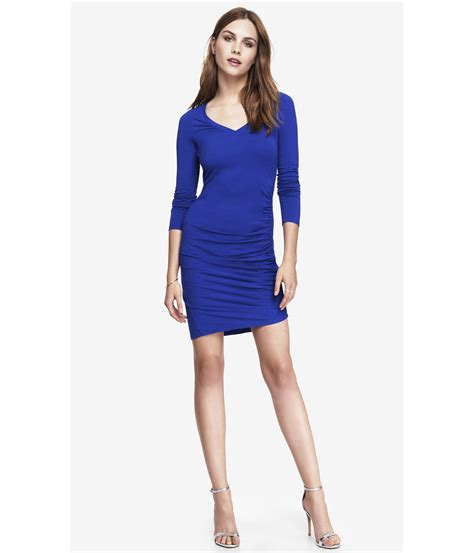 Dress Stretch express blue side ruched stretch cotton dress in blue tile blue lyst