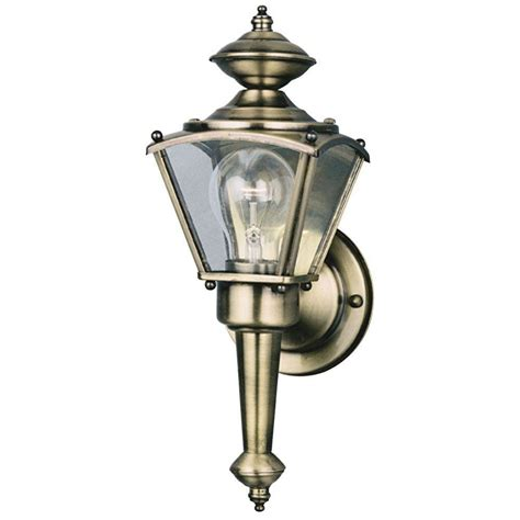 Antique Brass Outdoor Lighting Westinghouse 1 Light Antique Brass On Solid Brass Steel Exterior Wall Lantern With Clear Glass
