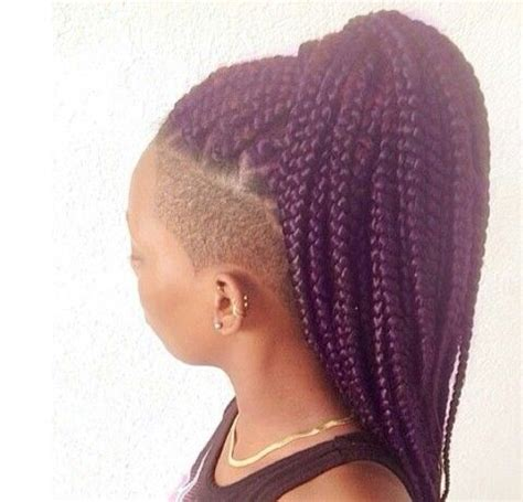shaved hair with plaits box braids purple box braids afro hair afro hairstyle