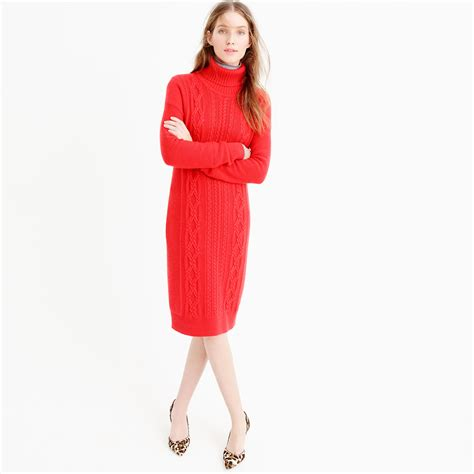 j crew cable turtleneck sweater dress in lyst
