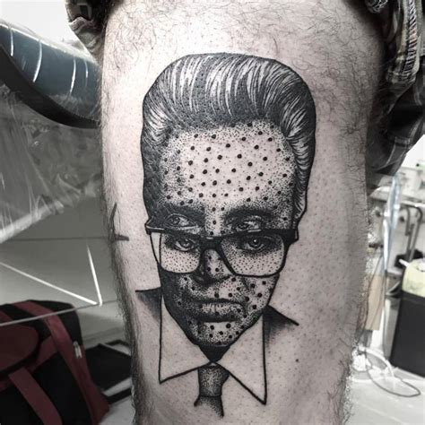 cool face tattoos unique dotwork design for half sleeve