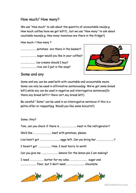 how much how many some any worksheet free esl printable