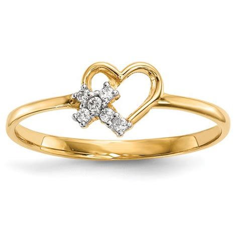 14kt yellow gold promise ring with cz cross r593
