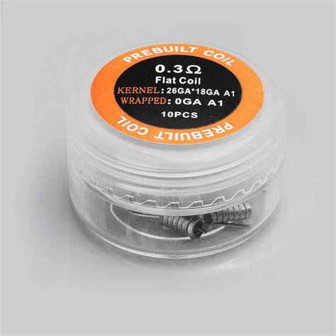 Prebuilt Coil Flat Wire 0 3 0 8 32ga 0 45ohm 10pcs Authentic Iwodevape Flat Kanthal A1 0 3 Ohm Prebuilt Coil