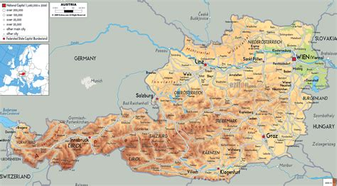 austria map with cities large detailed physical map of austria with all cities