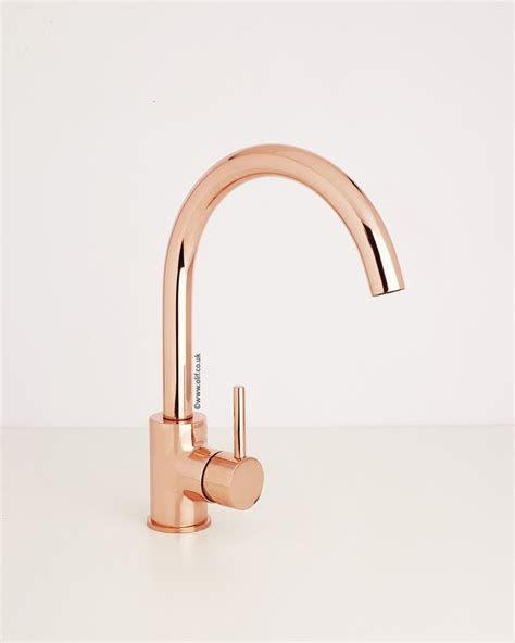 Copper Faucet Kitchen Rose Gold Contemporary Kitchen Mixer Tap Uk Cascata By Olif