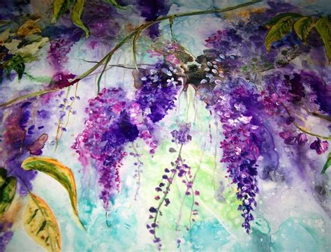 Painting 049 Sle Paper by Large Watercolor Wisteria Painting For Sale On Yupo Paper