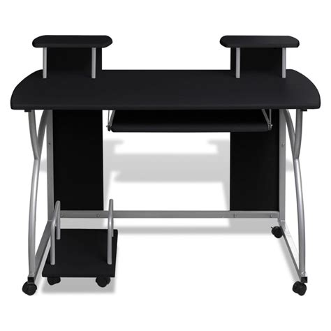 Mobile Computer Desk Pull Out Tray Black Finish Furniture Pull Out Computer Desk