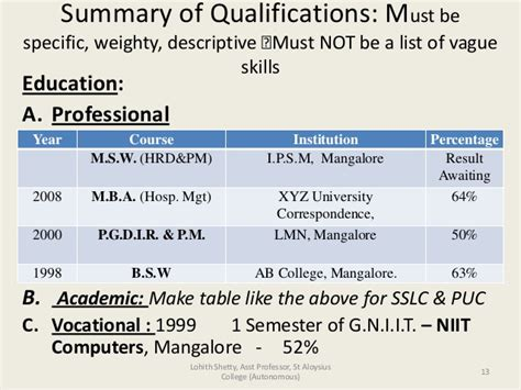 education qualification table format in resume effective cv writing