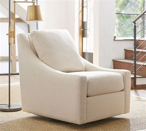 pottery barn swivel club chair aiden upholstered swivel armchair pottery barn
