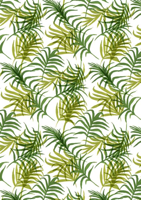 leaf pattern artwork green tropical palm leaf pattern gouache painting