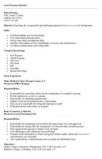 Resume Templates For Word Processor Sle Of Loan Processor Resume For Application