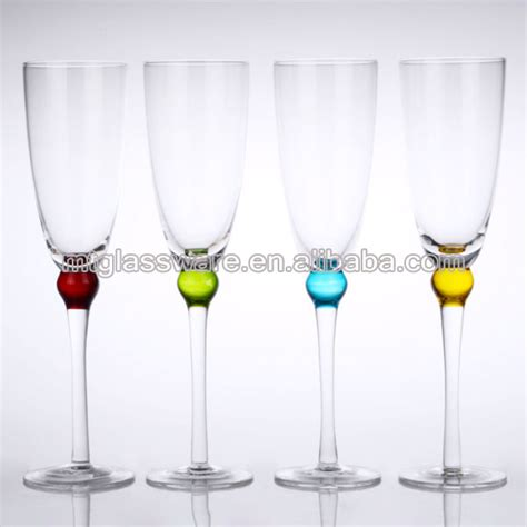 thick stem wine glasses chagne flute glass thick stem color bead products china