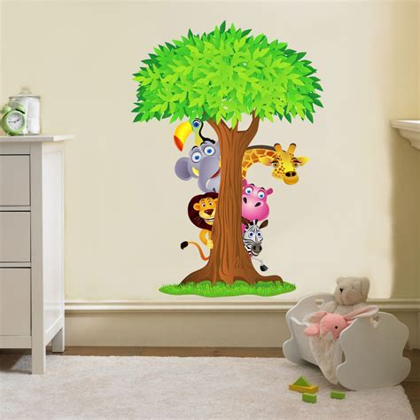Nursery Wall Decals Uk Safari Animals Tree Decal Removable Wall Sticker Home Decor Nursery Bedroom Ebay