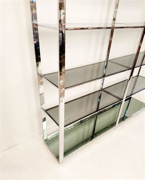 etagere 8 cases large chrome and glass bookshelf etager 233 for sale at 1stdibs