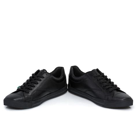 Kickers Pantofel Low Black Leather kickers woly lace up black leather mens trainers shoes
