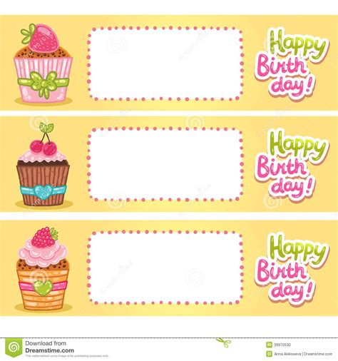s day cupcake card template happy birthday card background with cupcakes stock vector