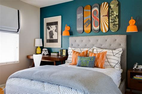 teen boy room decor project nursery teal and orange skateboarding bedroom